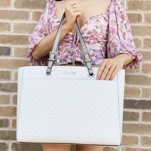 Michael Kors white MK large laptop bag tote